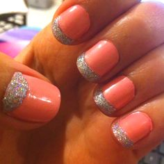 Glitter accents french tips