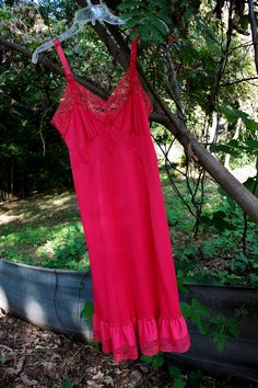 5a1912cc00 1950s Cherry Red Full Slip - Midi Dress - Lace Bust - Tiered Lace Bottom Hem