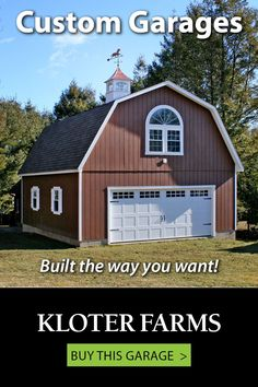 Whether you need car storage, an art studio, or a guesthouse... we've got you covered. Our trained professionals will help you design the building you've always wanted. #kloterfarms #garage #2cargarage Shed Design, Garage Design, Car Storage, Built In Storage, L Shaped Stairs, Ridge Vent, Gable Vents, Gambrel Roof, Custom Garages