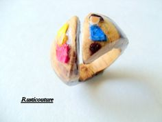 HandCarved Oak EggShell Ring HandPainted Open Ring by rusticouture