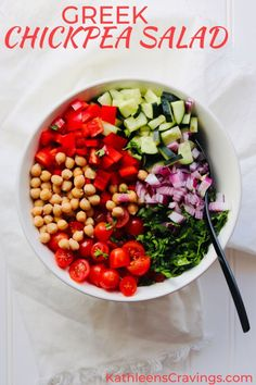 Greek Chickpea Salad is a perfect vegan side dish. No cooking, healthy, clean ingredients and keeps well in the fridge. Add this recipe to your meal prep rotation! Greek Chickpea Salad, Chickpea Salad Recipes, Vegetarian Recipes, Healthy Recipes, Greek Salad, Healthy Dinners, Healthy Options, Weeknight Meals, Free Recipes