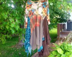 Bohemian Tunic Rustic Autumn Colors. XL XXL to 1X plus size tunic dress. Upcycled refashioned Boho Tunic. Cottage Chic Bohemian Tunic.