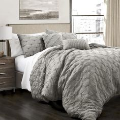 Ravello Pintuck 5 Piece Comforter Set Taupe Comforterking Size Bedding