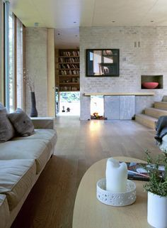 Brick, concrete and natural colors Living Room, Furniture, House Design, Interior, Home, Home Furniture, Interior Architecture, House Interior, Modern Furniture Living Room