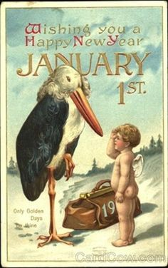that stork is terrifying and looks like something straight out of pans labyrinth new year greeting cardsnew