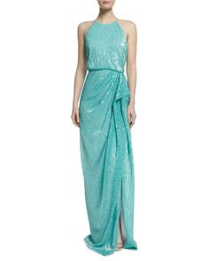 Sleeveless Draped Sequined Column Gown, Women's, Size: 8, Mint - Badgley Mischka