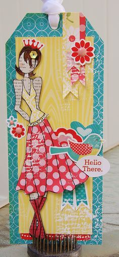 "Julie Nutting Prima Doll Tag using Echo Parks Sweet Girl collection. The doll stamp is ""Megan""."
