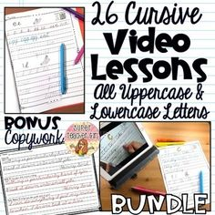 Perfect for DISTANCE LEARNING ++++ Save OVER 35% when you buy this BUNDLE ++++Plus you'll receive a BONUS: Cursive Awards CertificatesFinally, there is a way for your students to learn cursive while you are teaching small groups. These cursive video lessons will provide your students with guided pra... Learn Cursive, Teaching Cursive, Spelling And Handwriting, Improve Handwriting, Cursive Letters, Uppercase And Lowercase Letters, Reading Skills, Teaching Reading, Learning