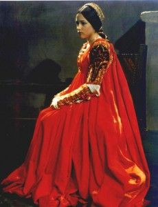 Another memorable costume is the red dress worn by Olivia Hussey in the 1968 version of Romeo and Juliet.
