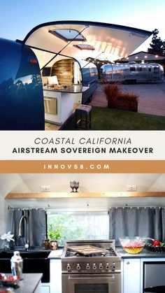 A 1969 Sovereign 31′ Airstream that embodies all of the qualities of the Roman goddess of the moon. Her sleek and beautiful design exudes comfort, spaciousness, durability and a beachy vibe perfect for her coastal home. #airstream #airstreamsovereign #homeiswhereyouparkit Travel Trailer Camping, Rv Mods, Airstream Renovation, Vintage Trailers, Tiny House On Wheels, Coastal Homes, Camper Van, Innovation Design, Van Life