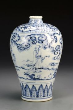 China, Ming Transitional Period, blue and white Meiping vase, with man depicted in natural landscape, auspicious symb. Blue And White China, Blue China, Glass Ceramic, Ceramic Pottery, Porcelain Ceramics, White Ceramics, Chinoiserie, Korean Pottery, Blue Pigment