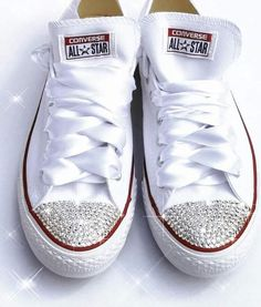 4bbfaae97 Womens Converse All Star Swarovski Crystals Bling Sneakers Shoes White  Wedding Bride Bedazzled Converse, Custom