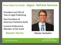 Dr. Steven Horne all day WEDNESDAY Live, ask questions and hear the answer of one of the most beloved teacher a Master Herbalist Dr. Horne. EDUCATION Week - It is Free, just need to register friends. CLICK: http://www.naturessunshine.com/us/members/content1/nspwebinars/natures-sunshine-webinars.aspx