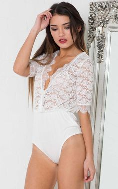 Showpo Racing Hearts Bodysuit in White Lace - 12 (L) Bodysuits