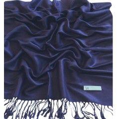 Dark Blue Pashmina & Silk Shawl pash1249  blankie for overnight plane rides.