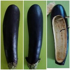 How to make eggplant shoes :-) prepare them as a container to load with your preferred filling Baby Food Recipes, Cooking Recipes, Creative Food Art, Food Carving, Food Garnishes, Garnishing, Food Displays, Eggplant Recipes, Snacks Für Party