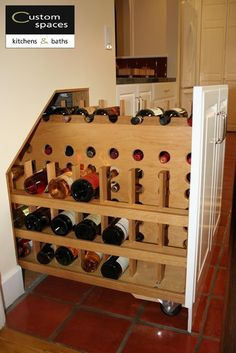 Pull-Out Wine Storage - spaces - san francisco - Custom Spaces Design Liquor Storage, Wine Rack Storage, Kitchen Storage, Storage Spaces, Wine Rack Bar, Wine Glass Rack, Bookcase Stairs, House Stairs, Under Steps Storage