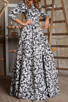 Black Floral Ruffle Round Neck 3/4 Length Sleeve Maxi Dress