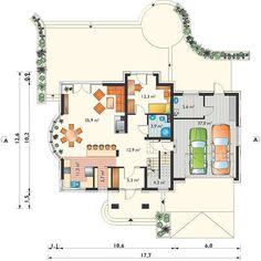Projekt domu Herbert - murowana – beton komórkowy 186,90 m² - koszt budowy - EXTRADOM Floor Plans, Exterior, House Styles, House 2, Outdoor Spaces, Floor Plan Drawing, House Floor Plans