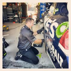 """Photo by @teamhendrick on Instagram: """"Practice might be over but the hard work continues. Car chief Ron Malec working on #48 Chevy."""""""