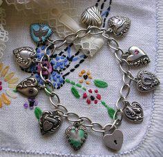 Vintage Antique Sterling silver puffy heart charm bracelet Enamel Padlock