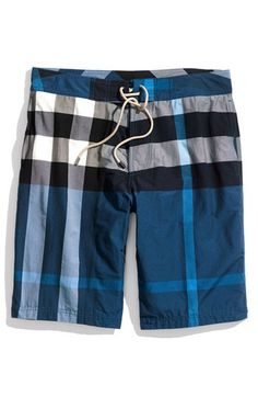 Burberry Brit Check Print Board Shorts (Men) available at Nordstrom