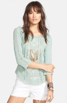 Free People 'Truly Madly' Crochet Trim Tee | Nordstrom, How would you style this? http://keep.com/free-people-truly-madly-crochet-trim-tee-no-by-kazza_smith/k/zvUnITABKA/