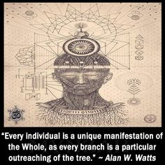 """""""Every individual is a unique manifestation of the Whole, as every branch is a particular outreaching of the tree."""" ~ Alan Watts"""