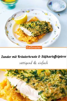 with herb crust on sweet potato puree Zander with herb crust on sweet potato puree smarter calories 496 kcal time 45 min Zander with herb crust on sweet potato puree. Fish Recipes, Snack Recipes, Dinner Recipes, Healthy Snacks, Healthy Recipes, Potato Puree, Mashed Sweet Potatoes, Tilapia, Healthy Snack Recipes