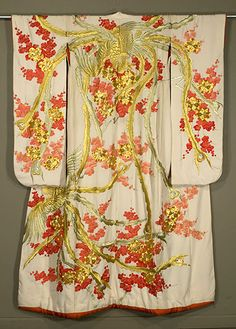 Japanese silk Kimono with cranes for Wedding - 'uchikake' 1950s