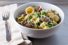 orecchiette pasta with pesto, sausage and green beans