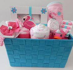 Flamingo Jungle Baby Girl Shower Premium Gift Basket - ColorfulBows