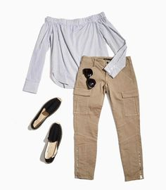 Off the shoulder top with cargo pants. summer style l DAILYLOOK Elite - personal styling service delivered right to your door