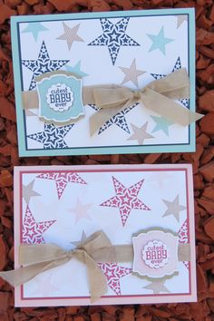 Great baby cards using Stampin' Up! Simply Stars