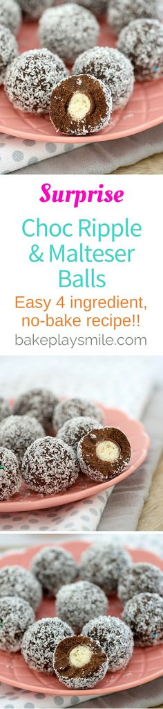 Surprise Choc Ripple & Malteser Balls 4 ingredients is all it takes to make these deliciously simple no-bake Surprise Choc Ripple & Malteser Balls! No Bake Slices, Delicious Desserts, Yummy Food, Lemon Desserts, Cake Stall, Christmas Cooking, No Bake Treats, Confectionery, Christmas Treats