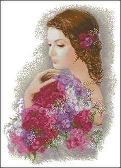 point de croix femme romantique et bouquet de fleurs - cross stitch romantic lady with bunch of flowers