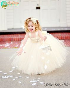 Ivory Champagne Lace Flower Girl Dress by FrillyFairyTales on Etsy Flower Girl Tutu, Lace Flower Girls, Flower Girl Dresses, Little Girl Dresses, Nice Dresses, Amazing Dresses, Girls Dresses, Bridesmaid Flowers, Bridesmaids