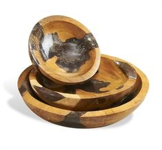 Cairns Teak and Cracked Resin Bowls