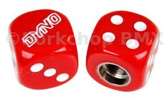 Dyno outline logo old school BMX Dice Bicycle Tire Valve Caps (pair) - RED