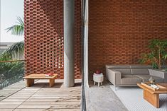 Rippling red brick facade shades house in Surat by Design Work Group Brick Architecture, Architecture Details, Residential Architecture, Amazing Architecture, Home Building Design, House Design, Brick Face, Brick Detail, Casa Patio
