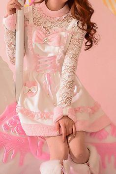 S/M/L Pinky Santa Lace Dress SP153616 - SpreePicky - 4