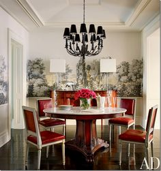 The actress Brooke Shields NYC dining room has this Zuber paper.  Love it mixed with the contemporary lamps.