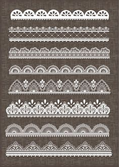 Lace border clipart, lace borders clipart pack with digital lace border for scrapbooking, invites - vector EPS PNG and Photohshop Brushes: