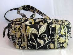 Vera Bradley Black Yellow Bird Floral Print Handbag Purse 12