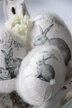 ~ Jeanne d'Arc Living paper mache Easter eggs ~ love the teeny Pom Pom cotton tail (Decoupage over plastic eggs?)