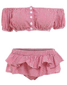 With Buttons Plaid Ruffle Red Bikini Set 20.17