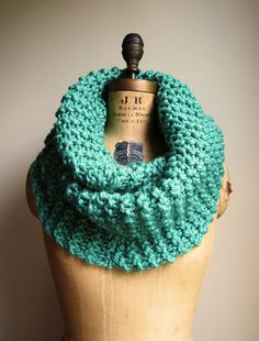 Super Snuggly chunky knit cowl  Mint Seafoam Green by Happiknits, $79.00