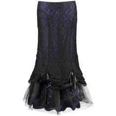 Queen Of Darkness - Bow Long Skirt   Langer Rock im Lagen-Look, der durch die raffbare Spitze individuell gestaltet werden kann.   Die Länge beträgt ca. 100 cm.