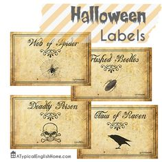 Printable Halloween labels for jars and bottles.