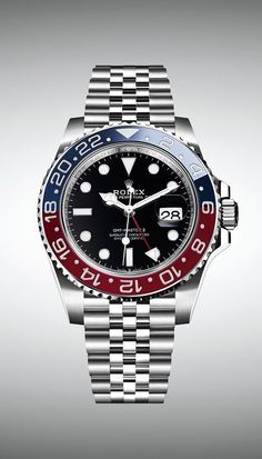 Rolex Watches New Collection : The new Rolex GMT-Master II in Oystersteel is equipped with a bidirectional rota. - Watches Topia - Watches: Best Lists, Trends & the Latest Styles Rolex Watches For Men, Best Watches For Men, Luxury Watches For Men, Sport Watches, Cool Watches, Analog Watches, Men's Watches, Rolex Day Date, New Rolex